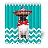 Violetpos Duschvorhang Lustige nette Hund Türkis Hochwertige Qualität Badezimmer 180 x 180 cm