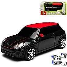 mini jcw in schwarz mit rotem dach und union jack