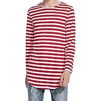 Camiseta de invierno, RETUROM Blusa casual de manga larga a rayas de primavera y otoño