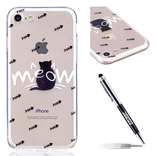 iPhone 7 Custodia Transparente, iPhone 7 Cover Silicone, JAWSEU Super Sottile Crystal Chiaro Custodia per Apple iPhone 7 Bumper Corpeture Case Creativo Disegno Antiurto Anti-scratch Shock-Absorption S Gatto nero