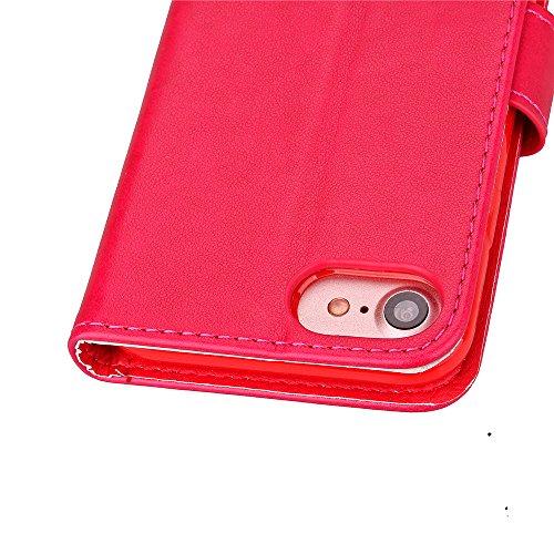 Coque pour Apple iPhone 7 4.7,Housse en cuir pour Apple iPhone 7 4.7,Ecoway étui en cuir PU Cuir Flip Magnétique Portefeuille Etui Housse de Protection Coque Étui Case Cover avec Stand Support Avec de motif de cuir(Rose Rouge)