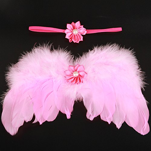 g für Fotografie, Neugeborene Baby handgefertigt Engel Feder Flügel Fotografie Foto Prop Outfit passt Kleidung Haarband Set rose ()