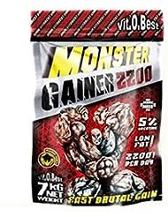 Vit-O-Best Monster Gainer 2200, Suplementos Alimentarios para Deportistas, Sabor a Limón - 3000 gr
