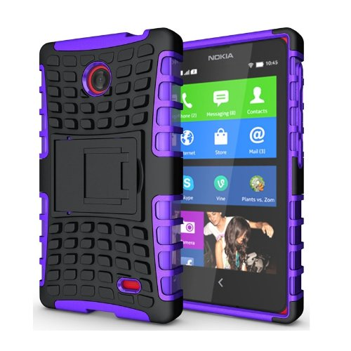 Heartly Flip Kick Stand Hard Dual Armor Hybrid Bumper Back Case Cover For Nokia X X+ Dual Sim Plus Android A110 - Purple  available at amazon for Rs.399