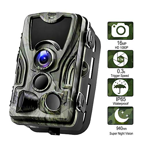 ZYG.GG Wildlife-Kamera 1080P 16MP Hinteres Spielkamera, Bewegung aktiviert 940nm IR-LEDs Nachtsicht IP65 wasserdicht, mit 120 ° Weitwinkel, für Wildlife Hunting und Home Security