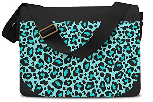 Bright Leopard Print Teal - One Size Messenger Bag - Messenger Bag Umhängetasche (Teal Leopard Print)