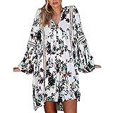 VEMOW Heißer Herbst Sommer Elegante Damen Frauen Boho Floral Lange Maxi Abend Täglichen Party Strand Mini Kleid Sommerkleid(Weiß, EU-38/CN-M)