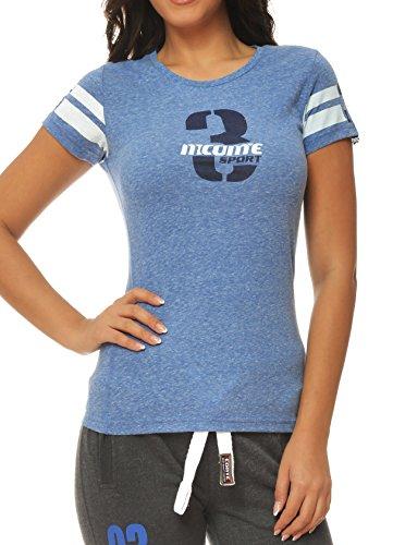 M.Conte Sportliches Damen T-Shirt Fitness T Sweat-Shirt Kurzarm Blau Grau Lila S M L XL Lilly in Farbe Hellblau Größe XL