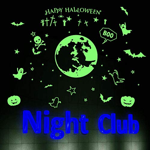 Nachttisch Veranda Bar Ktv Spukhaus Halloween Dekoration Leuchtende Aufkleber Home Wohnzimmer Sofa Hintergrund Shop Wandaufkleber 30X60 cm (Diy Easy Halloween-spiele)