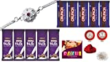 Periapt Kiva Long Lasting Rakhi Almond Chocolates Pooja Coin Roli Chawal Greeting Card Unbreakable Rakhi, (Silver)