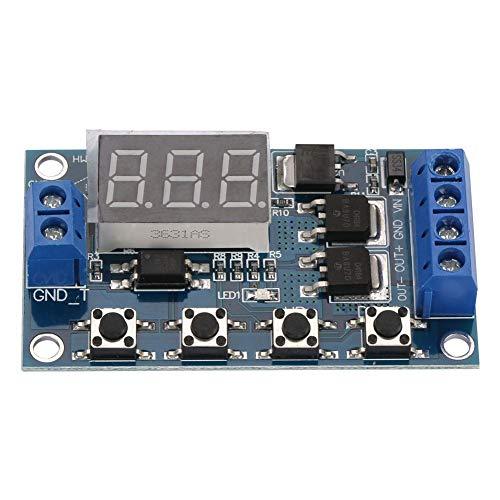 DC Digital Delay Timer Steuerungsschalter, Leistungsstarkes Impulssignal Zeitverzögerungs Zeitschalter 12V-24V Zeitrelais mit STOP-Funktion LED Anzeige -
