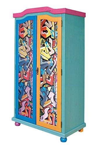 Inter Link Kleiderschrank Designschrank Kinderzimmerschrank Garderobenschrank FSC Kiefer Massivholz Bunt lackiert