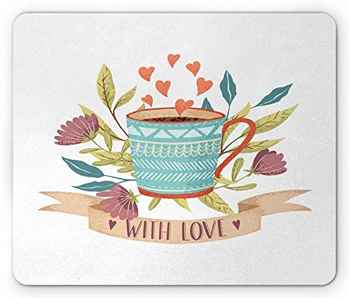 Coffee Mouse Pad, Hand Drawn Cup Flower Blossom and Heart with Love Quote Romantic Valentines Day, Standard Size Rectangle Non-Slip Rubber Mousepad, 9.8 X 11.8 Inch