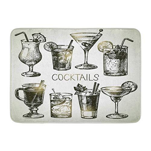 LIS HOME Badvorleger Flanellstoff Weiches, saugfähiges, grünes Glas Skizze alkoholischer Cocktails Orange Martini Gemütlicher dekorativer, Rutschfester Badvorleger