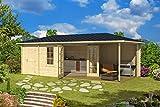 Gartenhaus G250 inkl. Fußboden - 40 mm Blockbohlenhaus, Grundfläche: 21 m², Giebeldach