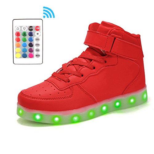 Voovix Kinder High-top LED Licht Blinkt Sneaker mit Fernbedienung-USB Aufladen Led Schuhe für Jungen und Mädchen (ROT, EU38/CN38)