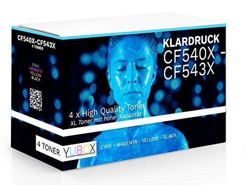 Preisvergleich Produktbild G & G 4er Set XL Toner kompatibel zu HP CF540X-CF543X / 203X für HP Color Laserjet pro M281fdw M281fdn M254nw M254dw / Schwarz 3.200 Seiten CMY je 2.500 Seiten