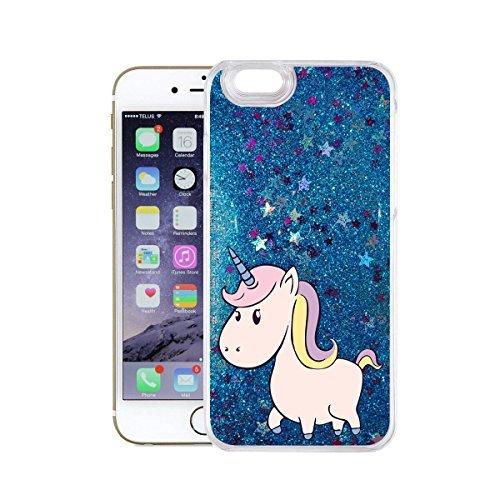 finoo | iPhone 7 Plus Flüssige Liquid Blaue Glitzer Bling Bling Handy-Hülle | Rundum Silikon Schutz-hülle + Muster | Weicher TPU Bumper Case Cover | Einhorn Einhorn seitlich