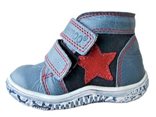 Ennellemoo ® -kinder bébé garçon-cuir-pREMIUM-bottines stiefletten boots-chaussures en cuir véritable klettversvhluss ferme automne/hiver en pleine fleur. Bleu - stahlblau/rot