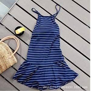 QWG Schlanke gestreift Strapse sexy rückenfreie Kleid konservativ Navy einteiliger Badeanzug-hot Federn , boln , xl