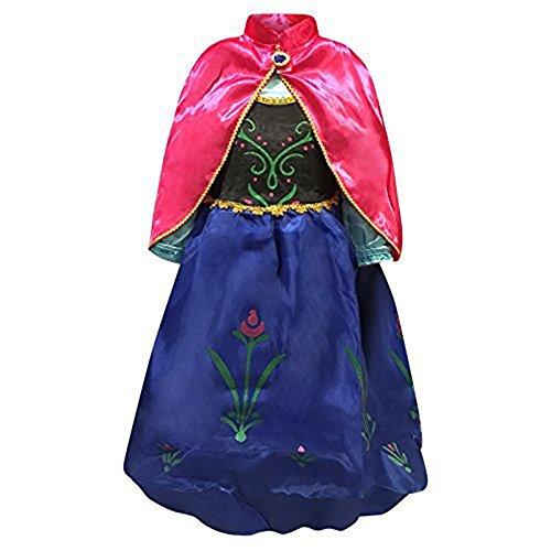 Venlen Tree venlen mit Prinzessinnen-Kleid mit Anna Elsa Kostüm für Mädchen Snow Queen-Outfit