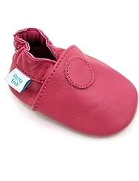 Chaussures bébé souples en cuir pour les filles avec des semelles en daim - Dotty Fish - Rose Conception - 0-6 Mois à 3-4 Ans