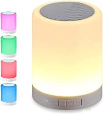 Rewy LP-74 Glow Table Lamp Night Light Facility Bluetooth Speakers Portable Wireless Music Speaker Smart Touch Sensor Lamps RGB Color Changing Finger Touching With Metal Handle SD-Card/ AUX-Input Supported Multifunctional Device Compatible With All Android, Windows & IOS Device (Assorted Colour)