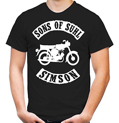 Sons of Suhl Simson T-Shirt | DDR | Osten | Fun | Kult | Motorrad | Moped | Hemd | Baumwolle (M, Schwarz)