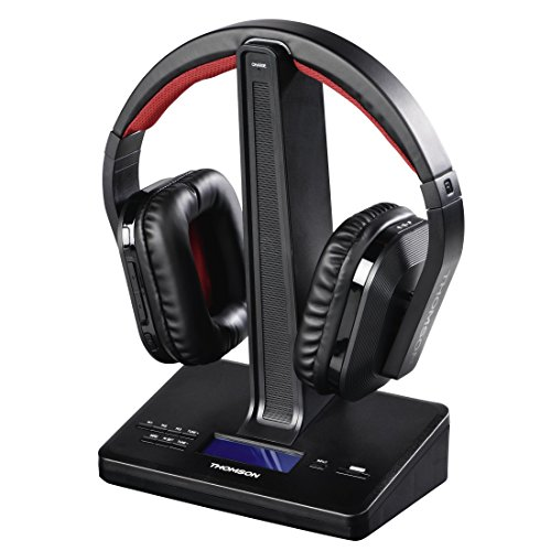 Thomson Digital-Funkkopfhörer mit DAB-Radio, WHP5407 (Over-Ear, inkl. Ladestation/Kopfhörer-Ständer, ideal als Hifi-/TV-Kopfhörer od. zur Digitalradio-Nachrüstung, kabellos, 8h Akku) Radiokopfhörer