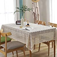asfrata265 Simple Knit Openwork Tablecloth Rectangular Dust Tablecloth Hotel Home Multi-function Cover Towel 100x100cm Crochet tablecloth