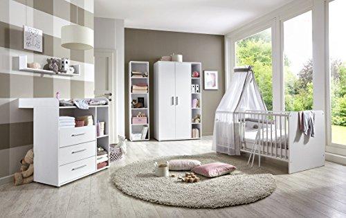 Babyzimmer / Babymöbel komplett Set KIM 3 in Weiß, Komplettset mit Kleiderschrank, Babybett mit...