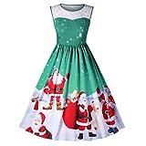 MIRRAY Damen Brautkleid Abendkleider Mode Armellose Kleider Spitze Vintage Weihnachten Santa Claus Gedruckt Partykleid