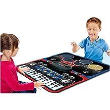 deAO Tapete Musical Infantil Piano y Batería 2en1- Alfombra Electrónica de Juegos Esterilla Musical Incluye Baquetas y Cable AUX
