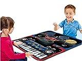 deAO Tappeto Musicale per Bambini SET 2en1 Pianoforte e Batteria - Tappeto Giochi Elettronici Include Bastoni e Cavo AUX