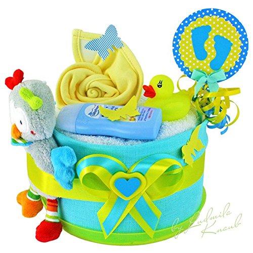 Gâteau gâteau/Pampers Couches > cadeau pour bébé garçon dans un beau Turquoise/Jaune ton//Cadeau de naissance, baptême, baby party//Cadeau Original et Pratique Pour Bébé