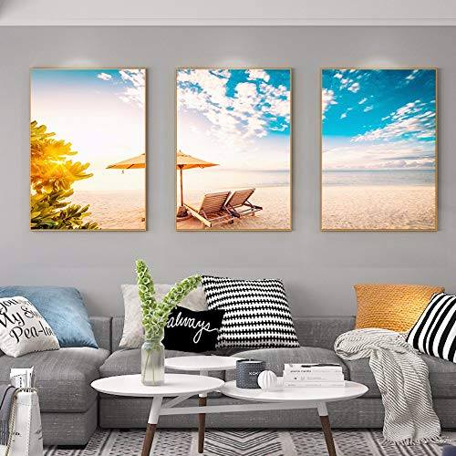 qiumeixia1 Nordic Poster Seescape 3 Pieces Wall Pictures for Living Room Blue Sky Sun Wall Art Canvas Painting Decoration Modern Home Decor 50 * 70cm No Frame