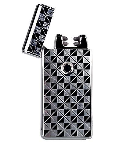 Double Arc USB Feuerzeug - [Anti-Slip] [winddicht] Frosted Tasche Ultra dünne Matt Elektronisches Lichtbogen Lighter, Elektro Feuerzeug , Zigarette Feuerzeug (Silber 2)