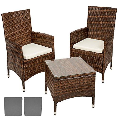 TecTake Conjunto muebles de Jardín en Aluminio y Poly Ratan Sintetico negro marrón 2 plazas, 2 sillones, 1 mesa baja + 2 Set de fundas intercambiables, tornillos de acero inoxidable (beige/gris)