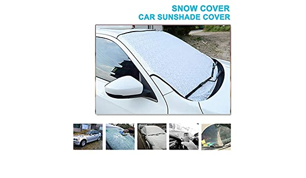 Universal Starlife Car Windscreen Snow Cover for Cars SUV Vehicles Trucks Magnetic 4-Layer Ultra Thick Protective Windshield Sun Shade with Mirror Cover Winter Ice Frost UV Rain Guard Hood