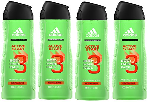 Adidas Active Star Gel de ducha para Hombre, 400 ml, Pack de 4