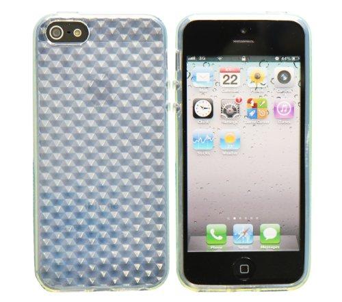 Luxburg® In-Colour Design Schutzhülle für Apple iPhone 5S / 5 in Farbe Türkis Blau / Hellblau Hülle Case aus Silikon Bergkristall Weiß