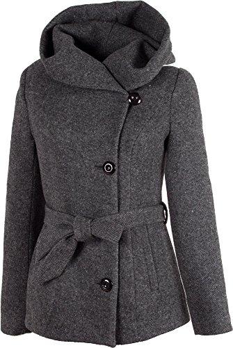 Grimada 1281 Damen Wollmantel Wolljacke COOTIC mit Kapuze (36, Stone grau) Kurzer Wollmantel