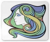 Curly Hair Mouse Pad, Spiritual Girl with Hippie Rainbow Mystic Feminine Goddess Yoga Harmony Pattern, Standard Size Rectangle Non-Slip Rubber Mousepad, Multicolor 9.8 X 11.8 inch