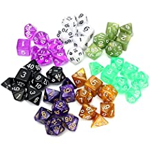 Rishil World 126 Pcs RPG MTG Polyhedral Dice 18 Sets With Pouch Bags 18 Colors