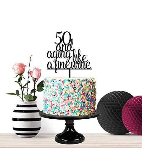Happy Birthday Tortenaufsatz, Meilenstein-Geburtstag, lustige Kuchendekoration, 50. Geburtstag, 50 und Alter wie ein feiner Wein