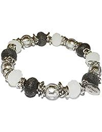 Armband Gummiarmband Damenarmband Perlen Schmuck weiß neu schwarz grau Damen
