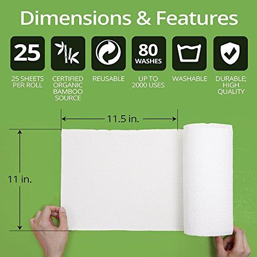 1x Bambus Küchenrolle – waschbare & wiederverwendbare Bambustücher, Haushaltstücher & Putzlappen zum z.B. Staub wischen – ersetzen Papiertücher - 3