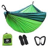 Anyoo Doppia Amaca da Campeggio 3×2 m in Nylon da Paracadute 2 x Moschettoni in Alluminio 2 x Cinghie in Nylon Incluse Leggera Portatile per Escursionismo Backpacking Viaggi