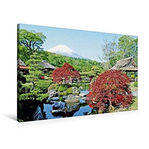 Calvendo Premium Textil-Leinwand 90 cm x 60 cm Quer, Faszinierender Blick auf den Berg Fudschijama von Einem Japanischen Ziergarten mit Bunten Bäumen | Fudschijama, Tokio, Japan Kunst Kunst