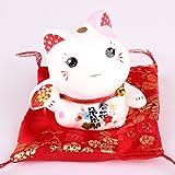 Maneki Neko Figur - kleine japanische Glückskatze mit Kissen - Winkekatze aus Porzellan - Feng Shui Glücksbringer und Spardose (Rosa)